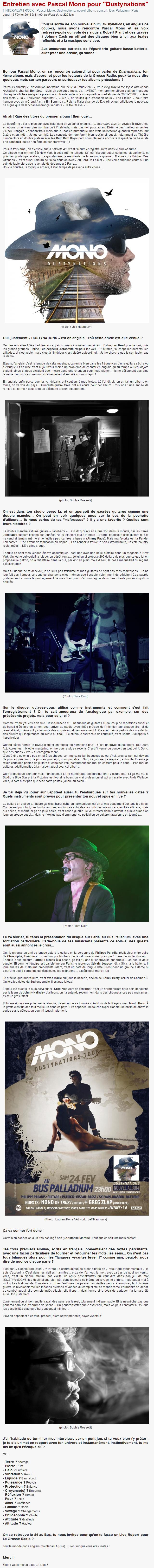 Interview de Pascal Mono pour La Grosse Radio